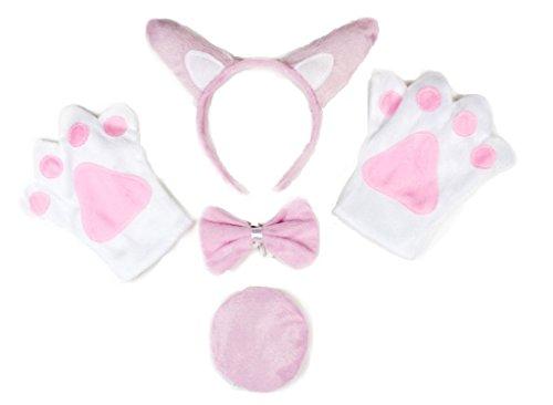 Petitebelle Ferkel-Kostüm mit Kopfband, Fliege, Schwanz, Handschuhe, für Erwachsene Gr. One Size, ()