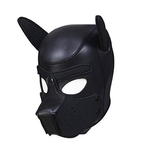 sichtsmaske Dog Puppy Hood abnehmbare Mund Kostüm Party Cosplay Unisex (Schwarz) ()