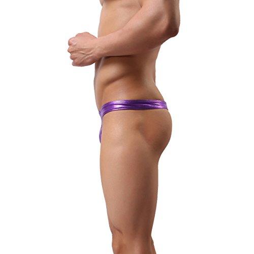 MuscleWorship Hot Herren Thong Sexy G-String Männer Thong Sexy Slip Thong Bodysuit Wrestling Lila
