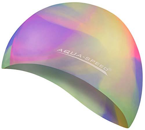 Aqua Speed® Set - BUNT Badekappe + Kleines Mikrofaser Handtuch | Silikon | Bademütze | Badehaube | Schwimmhaube | Erwachsene | Damen | Herren | Kinder, Kappen Designs:01. Bunt / 91