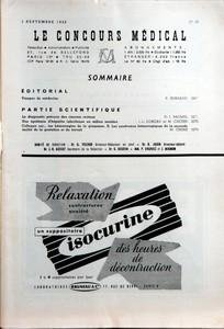CONCOURS MEDICAL (LE) N? 36 du 03-09-1955 SOMMAIRE - EDITORIAL - VISAGES DE MEDECINS PAR R BURNAND - PARTIE SCIENTIFIQUE - LE DIAGNOSTIC PRECOCE DES CANCERS RECTAUX PAR PR J BAUMEL - UNE EPIDEMIE D'HEPATITE INFECTIEUSE EN MILIEU SCOLAIRE PAR J-L DOREAU - COLLOQUE SUR - LES HEMORRAGIES DE LA GROSSESSE - II LES SYNDROMES HEMORRAGIQUES DE LA SECONDE MOITIE DE LA GESTATION ET DU TRAVAIL PAR M CHIRI
