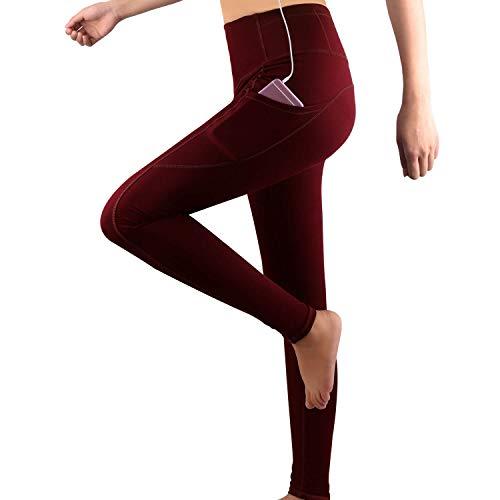 grat.unic leggings sportivi donna,donna capri leggings con tasche laterali,maglia eleganti leggings sport,allenamento opaco yoga fitness (rosso lunghi, s)