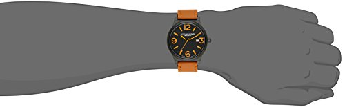 Stuhrling Original Aviator Eagle Osprey Men's Quartz Watch with Black Dial Analogue Display and Beige Leather Strap 454.3355K1