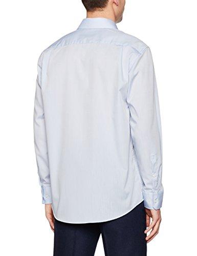 Seidensticker Herren Businesshemd Comfort Langarm Weiß Uni mit Kent-Kragen Blau (Hellblau 15)