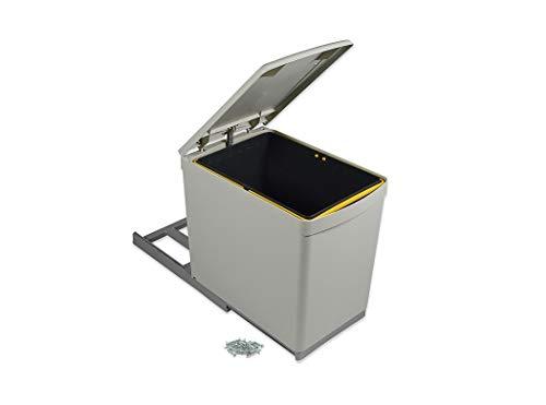 Emuca 8906621 - Papelera de reciclaje con fijación inferior y extracción manual con 1...