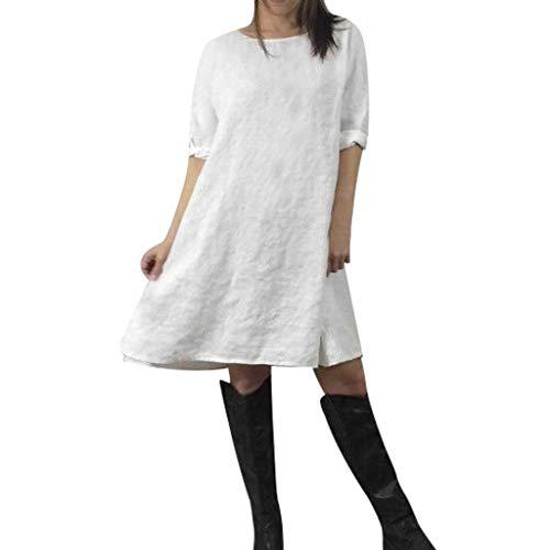 TITIU Damen Plus Size Unregelmäßige Mode Lose Leinen Kurzarm Shirt Vintage Bluse Tank Tee Oberteil Top(X5-Weiß,M) (Größe Plus Hemdchen Lange)
