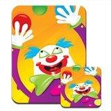 Weiß Face Clown Jonglierbälle Premium Mauspad und Untersetzer Set