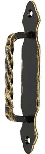 KOTARBAU Türgriff 190 mm Schmiedeeise Türklinke Handgriff Schwarz-Gold Torgriff Stahltürzug Haltegriff Griff Türbeschlag Torbeschlag Schiebtür Möbel