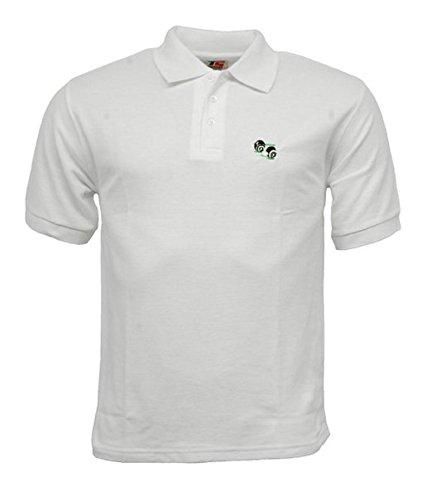 Unisex Men'Woman'/ s/s/Damen/Lawn Bowling Bowlswear, Schalen, Polycotton, Weiß, Polo Shirt, mit Logo-Knopfleiste mit 3 Knöpfen, mit farbigen Tasten. Weiß - Weiß