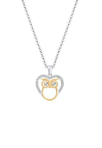 Elli Halskette Damen Eule Herz Bi-Color Swarovski Kristalle in 925 Sterling Silber