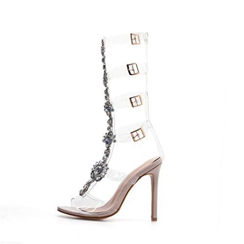 YAN Damen-Kleiderschuhe 2019 Neues Patent Leder Transparent Rhinestone Stiletto Schuhe Peep Toe Kopfsteinpfähle Sandalen Slingback High Heel Pumps,Clear,35 Patent Slingback High Heel
