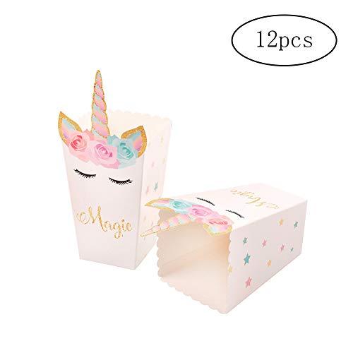 Xiton Cajas de Palomitas de maíz Linda del Unicornio del patrón Snack-Cajas de almacenaje de Papel Creativas Cajas del Caramelo para la Parte 12 de Las PC
