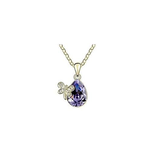 Collier goutte papillon cristal swarovski elements plaqué or Violet