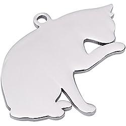 HooAMI Médaille Animaux Identification Gravure Personnalisé Forme de Chat en Acier Inoxydable avec Service Gratuit de Gravure