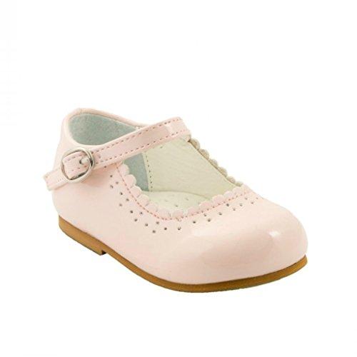 Sevva, Emma, Kinderschuhe, patentierte rutschfeste Sohle, zum Laufenlernen, im spanischen Stil, Weiß/Marineblau/Schwarz/Pink/Rot, für Hochzeitsfeier, Pink - rose - Größe: 34,5 EU Kinder -