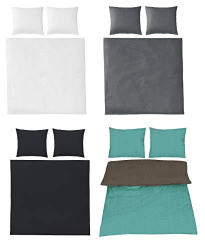 Seersucker Bettwäsche Uni Baumwolle bügelfrei in 4 Farben 200x220 cm 2X 80x80 cm Anthrazit
