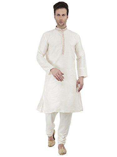 Langarm Button-down-Shirt Herren Kurta Pyjamas Set Handarbeit Traditionellen -