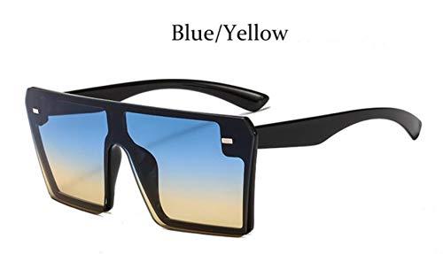 Cranky Orange Fashion Quadrat Sonnenbrille Übergroße Frauen Randlose Spiegel Marke Große Sonnenbrille Weiblich Schwarz Schattierungen Männer Flat Top Unisex, Blau Gelb