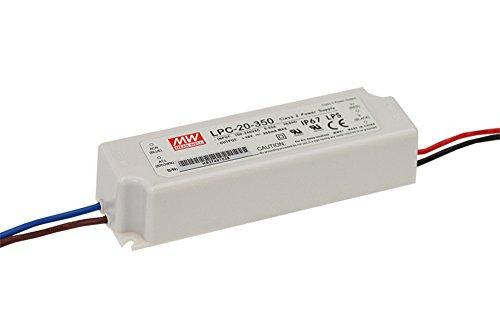 MEAN WELL, Single - PRODUKTION,110-220V AC-DC Fahren,Schaltnetzteil,Konstantstrom Switching Power Supply, LED Wasserdicht 9~48V 20W 350mA LPC-20-350 110v Dc Single