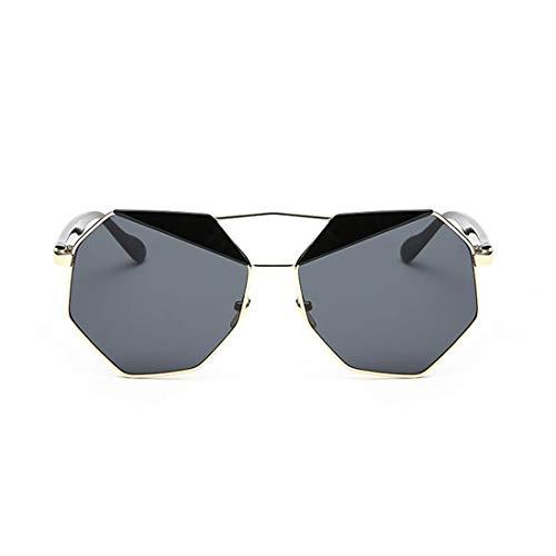 Yiph-Sunglass Sonnenbrillen Mode Frauen faßten Sonnenbrille-UVschutz-Sonnenbrille der Pers5onlichkeits-Dame for das Fahren der Polygon-Sonnenbrille for EIN (Farbe : Gold Frame Black Gray Piece)