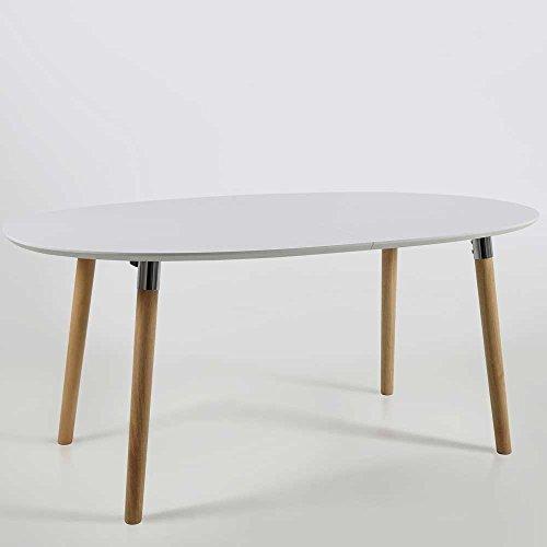 lounge-zone Esstisch BELINI Oval Esszimmertisch Küchentisch Tischplatte weiß Holz Holzgestell Eiche Look Details Chrom 100x170cm 12538