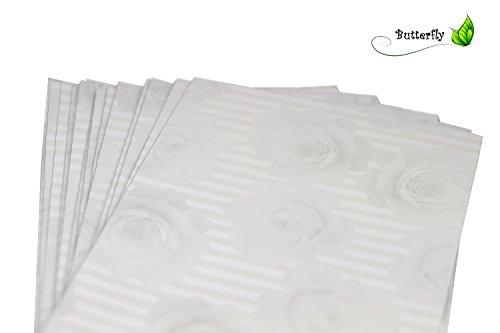50 Geschenktüten Folie 15cm x 25cm // Beutel Geschenkverpackung Gastgeschenke Tüten Glänzend (Silber mit Rosen) (Folie Silber Beutel)