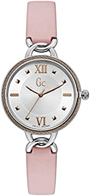 Gc Womens Quartz Watch, Analog Display and Leather Strap Y49005L1MF
