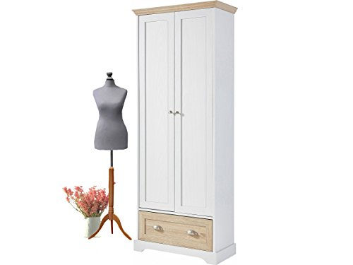 MARCEY Kleiderschrank mit Kleiderstange Garderobenschrank Schlafzimmerschrank Flur weiß