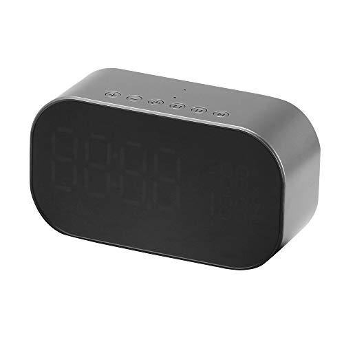 TiooDre Bluetooth sans fil avec haut-parleur double rveil, radio FM numrique, 3,5 mm Aux Line-in carte TF Play, thermomtre, Grand Miroir LED Display pour Dimmable Htel, Maison, Bureau, Chambre, Voyage