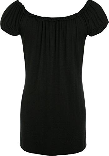WearAll - Damen Übergröße Gypsy u-boot-ausschnitt boho Top - 18 Farben - Größe 40-58 Schwarz