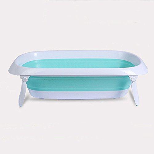 GAOQ Baby-Bad-neugeborener Gefalteter Sitz-stützender Rutschfester Waschbecken-Bad-Stuhl-Kind,BlueTrumpet