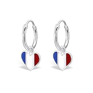 EURO 2016 Ohrringe mit Frankreich Flag Design Sterling Silber Fussball