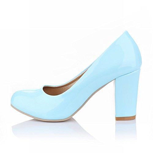 Mee Shoes Damen modern süß Geschlossen Lackleder runder toe Pumps mit hohen Absätzen Blau