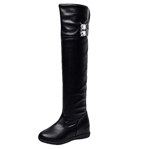 Deloito Winterstiefel Winter Damen Freizeit Sexy High Boots Über das Knie Stiefel Kristall Runder Zeh Interne Erhöhung Absätze Lange Stiefel (Schwarz-C,35 EU) -