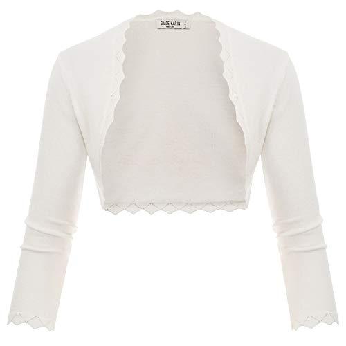 GRACE KARIN Damen Cropped Knit Bolero für Kleid Open Front Kurz Strickjacke Elegant Cardigan L CL960-2