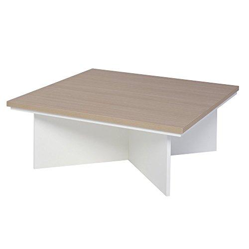 Gillmore Space Matt White chêne stratifié carré Contemporain Table Basse
