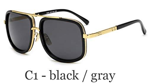 HUILIN Klassische übergroße Herren Sonnenbrille Luxusmarke Damen Machen Sonnenbrille Quadrat Retro Herren UV400 Spiegelgläser, C1