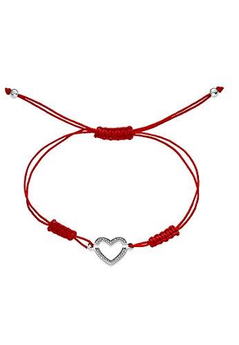 JETTE Silver Damen-Armband 925er Silber rhodiniert 28 Zirkonia One Size, rot