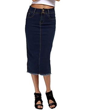 WanYang Mujer Gran Tamaño Falda Vaqueras Larga Falda Denim Faldas Fiesta Tubo Cintura Alta S,M,L,XL,2XL,3XL,4XL