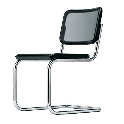 Thonet S 32 Freischwinger Stuhl, Buche schwarz TP 29 gebeizt Kunststoffnetzbespannung Gestell Chrom