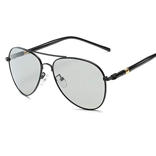 Gläser Farbwechsel Polarisierte Sonnenbrillen für Männer Metallrahmen Classic Pilot Frog Mirror Für Fahren im Freien Brillen (Color : 03Gray Color Change, Size : Kostenlos)