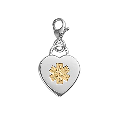 Divoti Custom Engraved Adorable Heart 316L Medical Alert Charm w/ Lobster Clasp-PVD Gold
