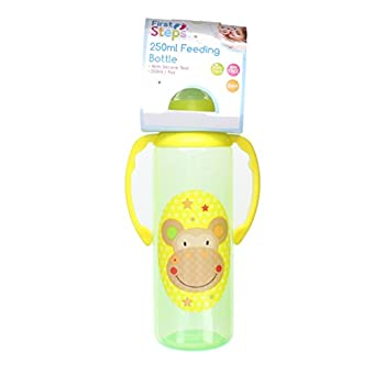 First Steps Jungle Pals Biberon A Poignées Sans BPA 250ml- Monkey Vert