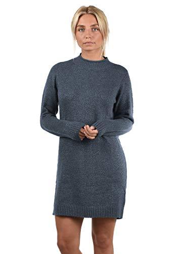 ONLY Wanja Damen Strickkleid Kleid Mit Stehkragen In Midi-Länge, Größe:L, Farbe:Night Sky