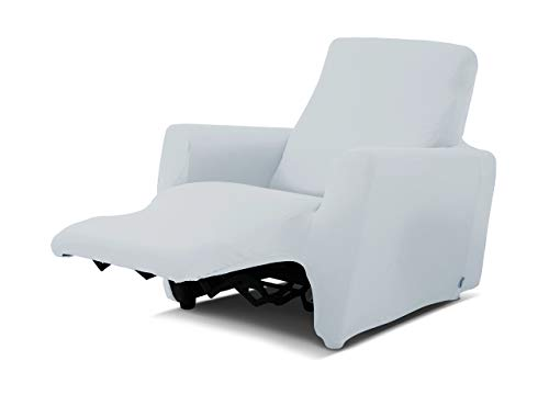 BIANCHERIAWEB Copripoltrona Reclinabile Genius Relax Lounge in Tinta Unita Poltrona Bianco