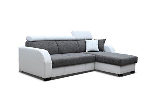 Couch mit Schlaffunktion Eckcouch Ecksofa Polstergarnitur Wohnlandschaft - COBBY (Ecksofa Rechts, Grau)