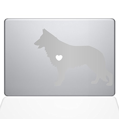 (The Decal Guru I Love My German Shepherd, Vinyl-Aufkleber, 33 cm (13 Zoll) MacBook Pro (2016 und neuere Modelle), Silber (1381-MAC-13X-S))