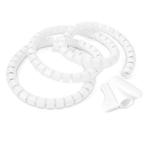 Relaxdays Kabelschlauch 1,5m Kabelkanal kürzbar, aus Kunststoff flexible Kabelorganisation, weiß