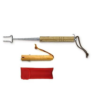 Victorinox Grillgabel, mit Holzgriff, Rostfrei, Edelstahl, Ausziehbar bis 65,4cm, Lederschlaufe