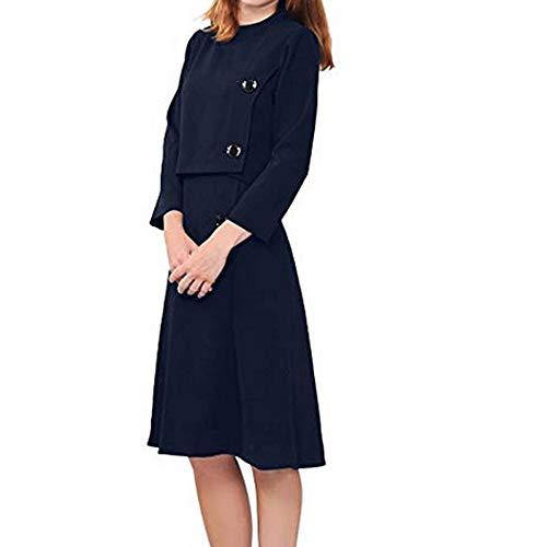 KEERADS Damen Pullover 2pcs Fester O-Ansatz Neckrist Hülsen Knopf Oberseite Knielanger Rock-Anzug Women Sweatshirt -
